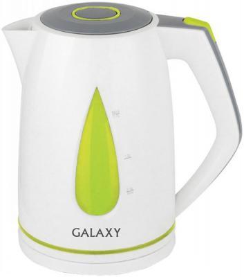 Чайник GALAXY GL0201 2200 Вт белый зелёный 1.7 л пластик чайник электрический galaxy gl0201 зеленый