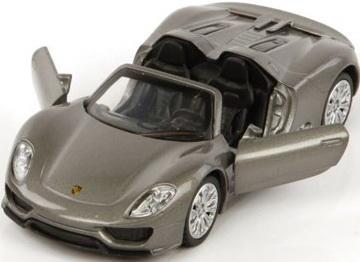 Автомобиль Пламенный мотор Porsche 918 Spyder 1:41 серый откр.двери
