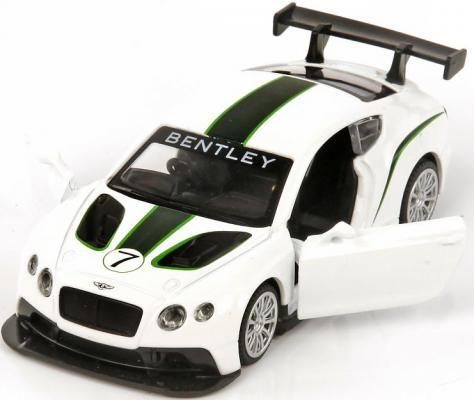Автомобиль Пламенный мотор Bentley Continental GT3 1:43 белый мет., откр.двери 6927858701412