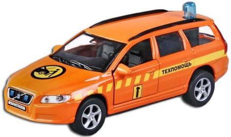 Машина Пламенный мотор 1:32 Volvo V70 Техпомощь оранжевый 16 см