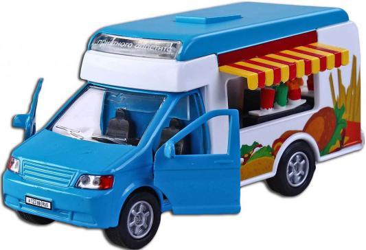 Автомобиль Пламенный мотор Фургон Фаст Фуд 1:32 голубой свет, звук, откр.двери