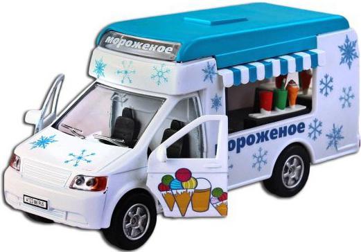 Автомобиль Пламенный мотор Фургон Мороженое 1:32 белый свет, звук, откр.двери
