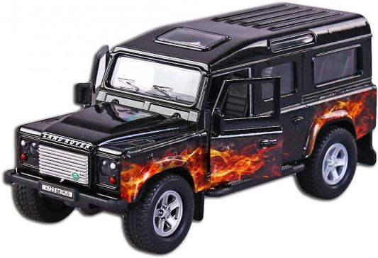 Машина Пламенный мотор 1:32 Landrover Defender Пламя черный 18 см
