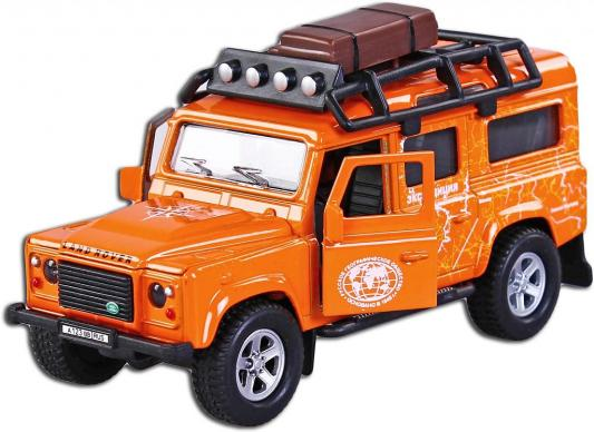 Автомобиль Пламенный мотор Landrover Defender Экспедиция 1:32 оранжевый свет, звук, откр.двери 87511 машинки пламенный мотор машина мет ин 1 32 дорожные работы откр двери свет звук