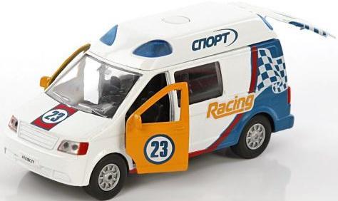 цена на Автомобиль Пламенный мотор Ралли Спор 1:32 белый откр.двери, свет, звук