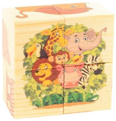 Кубики Русские деревянные игрушки Зоопарк от 1 года 4 шт Д493а