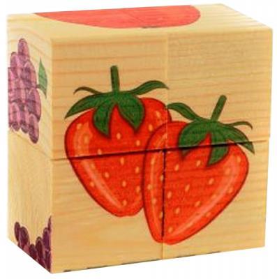 Кубики Русские деревянные игрушки Фрукты от 1 года 4 шт Д479а