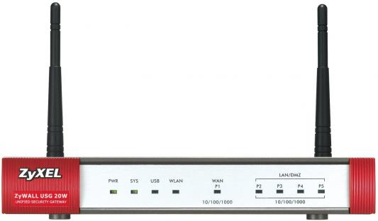 Межсетевой экран Zyxel ZyWALL USG20W-VPN 4 порта 10/100/1000 Mbps 1WAN 802.11n с точкой доступа