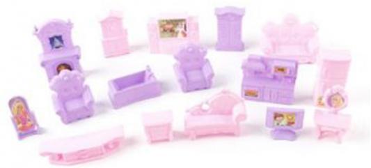 Набор мебели для куколки Shantou Gepai сиренев-роз, 16 предм., сетка 944