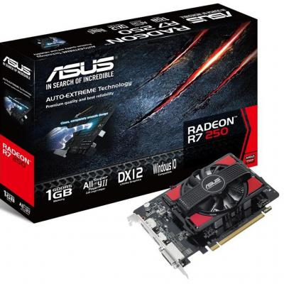 ���������� 1024Mb ASUS R7 250 PCI-E 128bit GDDR5 DVI HDMI DP CRT HDCP R7250-1GD5-V2 Retail