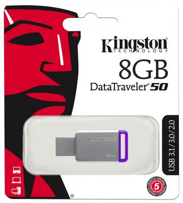 Флешка USB 8Gb Kingston DataTraveler DT50/8GB usb flash drive 8gb kingston datatraveler locker g3 dtlpg3 8gb