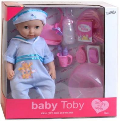 Пупс Shantou Gepai Baby Toby в голубом костюмчике 43 см писающая пьющая 30809-9
