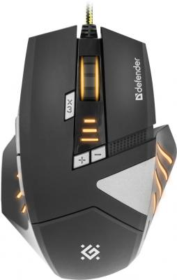 Мышь проводная DEFENDER Warhead GM-1760 чёрный USB 52760 defender forsage drift usb ps2 ps3 12 кн рычаг коробки передач 64370
