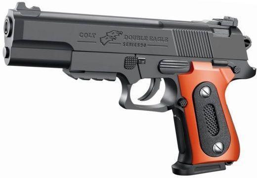 Купить Пистолет Наша Игрушка Пистолет черный оранжевый ES2089-K2011-A, Shantou Gepai, черный, оранжевый, 14X3X21 см, для мальчика, Игрушечное оружие