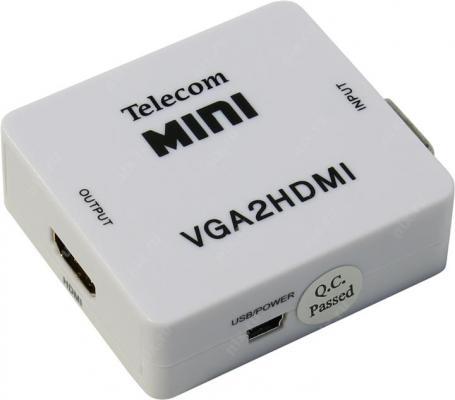 Переходник VGA +аудио - HDMI Telecom TTC4025 кабель переходник 0 2м vcom telecom mini displayport vga vhd6070
