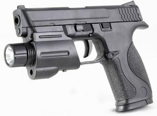 Пистолет Shantou Gepai Механический с фонарем черный ES1003-SM0604