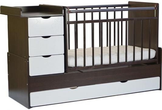 Кроватка-трансформер СКВ-5 4 ящика (венге-белый/фотообои жираф/520038-1)