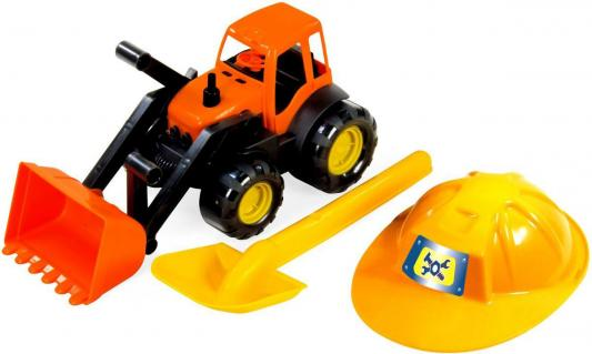 Игровой набор ZEBRATOYS Трактор c каской и лопатой оранжевый  15-10593