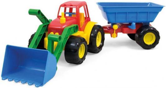 Трактор ZEBRATOYS ACTIVE с ковшом и прицепом разноцветный 59 см 155212
