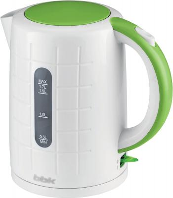 Чайник BBK EK1703P 2200 Вт белый зелёный 1.7 л пластик чайник bbk ek1703p 2200 вт 1 7 л пластик белый металлик
