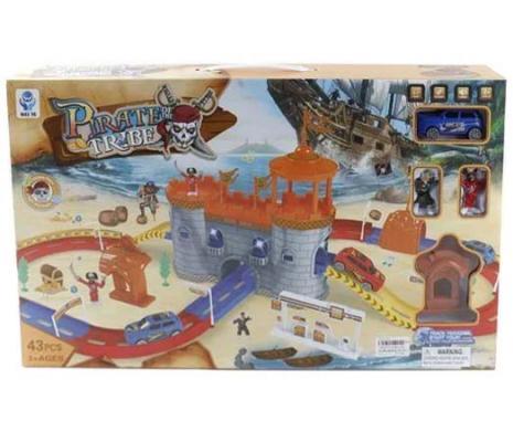 Замок пиратов и трек Shantou Gepai свет, звук, эл.пит.вх.в компл.,43 детали, 2 фигурки, 1 машина 5599-47A