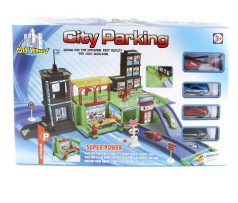 Паркинг Город Shantou Gepai 2 уровня, 3 машинки, вертолётик 283-10