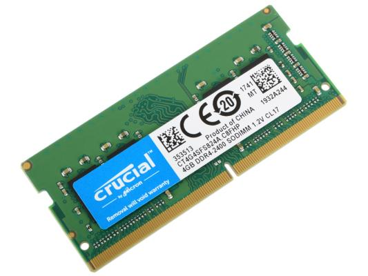 Оперативная память для ноутбука 4Gb (1x4Gb) PC4-19200 2400MHz DDR4 SO-DIMM CL17 Crucial CT4G4SFS824A