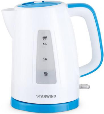 Чайник StarWind SKP3541 2200 Вт белый голубой 1.7 л пластик