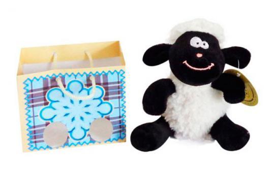 Мягкая игрушка овечка Fluffy Family Овечка 11 см белый черный искусственный мех 681193П