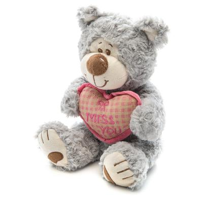 Мягкая игрушка медведь Fluffy Family Мишка Митя с сердцем текстиль искусственный мех серый 25 см 6927556811468