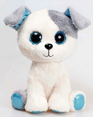 Мягкая игрушка собака Fancy Собачка глазастик искусственный мех пластик плюш текстиль белый 21 см 4812501123937