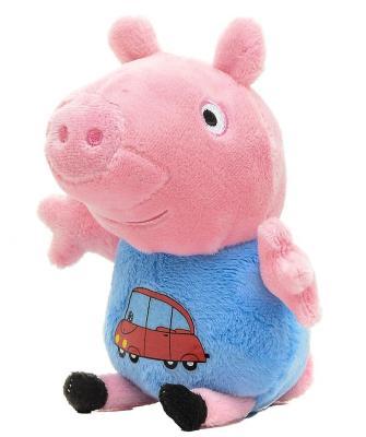 Мягкая игрушка свинка Росмэн Джордж с машинкой плюш текстиль розовый голубой 18 см 4680274019333