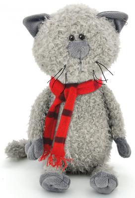 """Мягкая игрушка ORANGE """"Кот обормот в шарфике"""" текстиль серый 20 см OS067/20"""