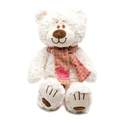Мягкая игрушка медведь Fluffy Family Мишка Митя с шарфом искусственный мех белый 24 см 6927556811413