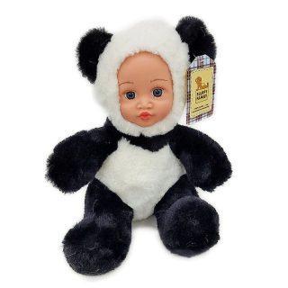 Мягкая игрушка панда Fluffy Family Крошка панда текстиль искусственный мех пластик белый черный бежевый 30 см 6927346812415