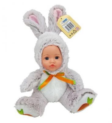 Мягкая игрушка заяц Fluffy Family Мой зайчонок серый искусственный мех плюш пластик текстиль 681239