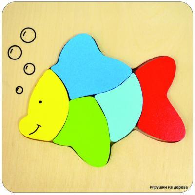 Пазл деревянный 5 элементов alatoys Рыбка ПЗЛ1801 объемные пазл рыбка sw060