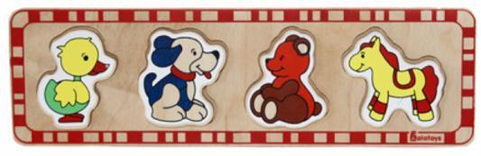 Купить Рамка-вкладыш 5 элементов alatoys Утка, собака, медведь, лошадка ПЗЛ1001, Деревянные пазлы