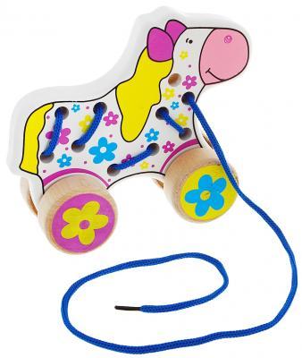 """Каталка на шнурке Alatoys """"Лошадь"""" дерево от 3 лет на колесах разноцветный  ШЛШ01"""
