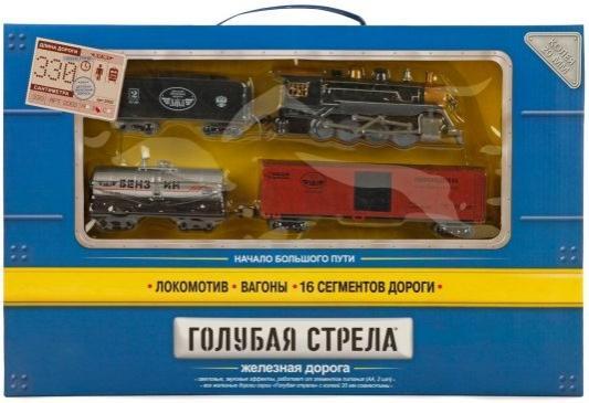 Железная дорога Голубая стрела, 330см,паровоз,3 вагона,свет,звук. Элементы питания не входят в комплект.2002B 87124