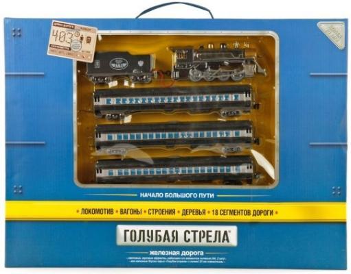 Железная дорога Голубая стрела, 403 см, паровоз,4 вагона,свет,звук. Элементы питания не входят в комплект 2003B