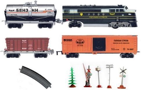 Железная дорога Голубая стрела 330см,тепловоз,3 вагона,свет,звук. Элементы питания не входят в комплект 2002A