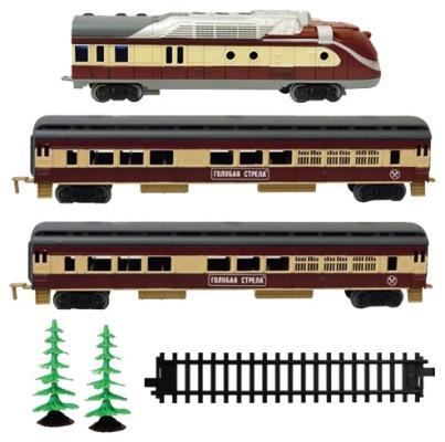 Железная дорога Голубая стрела, тепловоз, 2 пассажирских вагона Голубая стрела 2021B