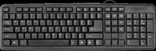 Клавиатура проводная DEFENDER HB-420 RU USB черный 45420 клавиатура проводная asus m802 claymore core bk ru usb черный 90mp00i3 b0ra00