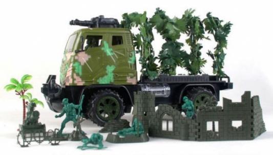Военный автомобиль на радиоуправлении Shantou Gepai Военный грузовик пластик от 3 лет камуфляж JN128-13 каталка на палочке shantou gepai карусель петушки от 3 лет разноцветный пластик с ручкой