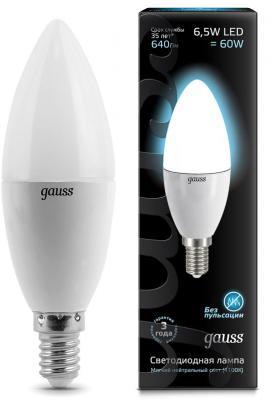 Лампа светодиодная E14 6.5W 4100К свеча матовая 103101207 gauss лампа светодиодная gauss candle свеча матовая e14 9 5w 4100к 103101210