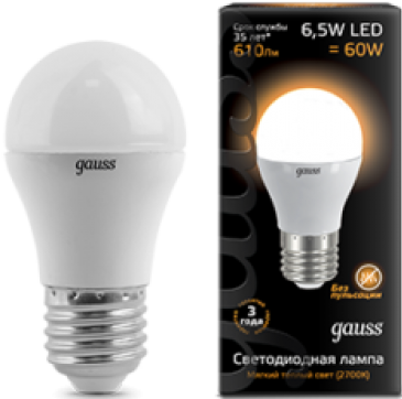 купить Лампа светодиодная E27 6.5W 2700K шар матовый 105102107 онлайн