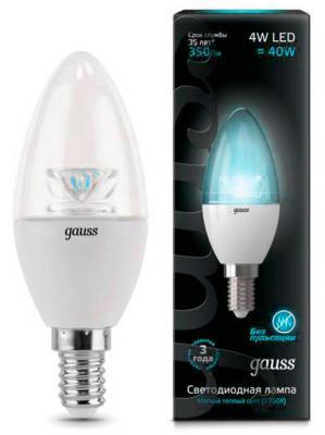 Лампа светодиодная E14 4W 4100К свеча прозрачная 103201204