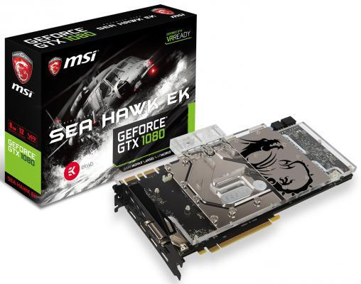 Видеокарта 8192Mb MSI GeForce GTX 1080 SEA HAWK EK X PCI-E 256bit GDDR5X DVI HDMI DP HDCP Retail
