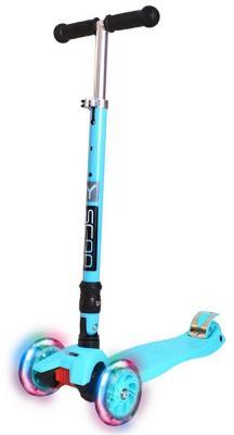 Самокат Y-SCOO 35 MAXI FIX Shine со светящимися колесами голубой
